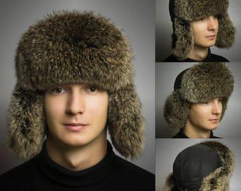 FUR EAR FLAP Hat, Men real fur hat, Trapper Hat, Aviator Hat, Ushanka, Russian Hat, Ski Hat, Rabbit Fur, Fur Hat Ear Flaps, Gift for Men
