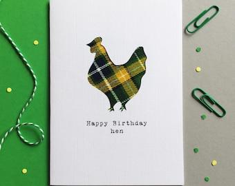 Funny Scottish Card - Scottish Tartan Card - Scottish Birthday Card - Made In Scotland - Tartan - Happy Birthday Hen