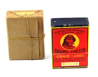Vintage yellow crayon box, original and unused set of 12 chalk pencils for wood, leather, fabric, packaging, . . drawing
