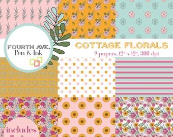 Floral Scrapbook Paper, Cottage, Floral, Flower, Hand Drawn, Digital Paper Pack, Digital Scrapbook, Paper Craft, Collage Paper