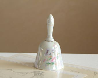 Vintage pearly white ceramic bell / small dinner bell with golden trim and flowers / bell made by Enesco 1979