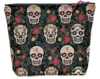 Large Modern Quilted Zippered Pouch, Cosmetics Bag, Project Bag, Pencil Case, Day of the Dead Sugar Skulls Pouch, Quiltsy Handmade