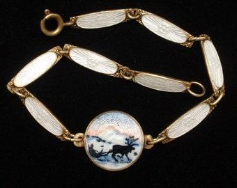 Dainty Bracelet Vintage Sterling Silver Enamel SK