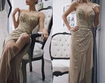 Elegant Evening Dress , Sexy Lace Applique  Long Evening Dress,Bridesmaid, Cocktail Dress,Party dress