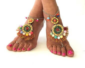 DIONA, Barefoot Sandals, Beach Jewelry,  gemstones Hippie Sandals, Foot Jewelry,  festival accessories, yoga toe, anklet