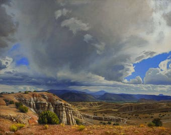 Abiquiu October Sky - 8x10 inch Print,  Original Oil Painting by Jurgen Wilms, Southwest Landscape Painting, Dramatic Sky, Archival Print