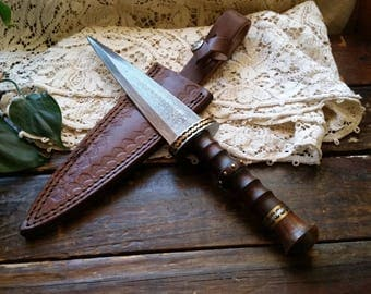 "Damascus Steel Double Edged Dagger 12 3/8"" Long 7"" Damascus Blade, Rosewood Handle, Gift for Men, Scottish Dirk, Medieval Knight Personalize"