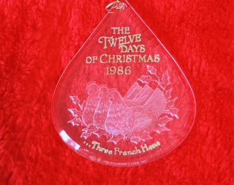 Hallmark Ornament Twelve Days of Christmas Three French Hens 3rd in series Acrylic Ornament Vintage 1986