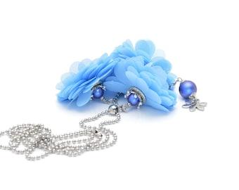 Sky blue floral necklace, Boho necklace, Summer necklace
