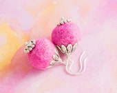 Large Pink Felted Earrings with Silver Leaf Bead Caps, Felt Ball Earrings, Pink Felt Earrings, Fiber Jewelry, Pom Pom Earrings