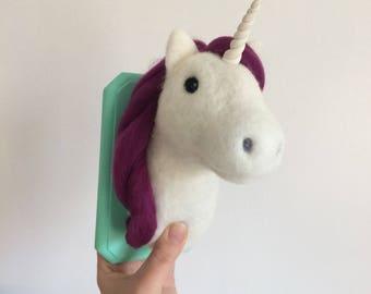 Unicorn trophy head Handmade Needle Felted made to order medium faux taxidermy
