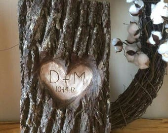 Log Slice Carved Heart With Your Initials And Date Rustic Wedding Decor Home Decor