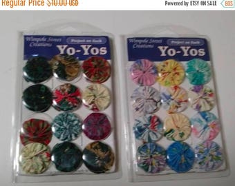 On Sale Wimpole Street Creations, Yo-Yos, Size Large, 2 Packages - Christmas and Pastel, 12 per Package, Fabric Appliques, NEW