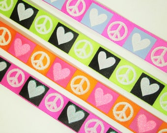 1 m Satin Ribbon Love and peace 15 mm w.