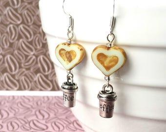 Coffee cup earrings - Coffee lover gift - Love coffee earrings - Coffee addict gift - Coffee jewellery - Stocking filler - UK jewellery