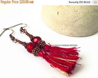 CLEARANCE Bohemian Earrings | Boho Earrings | Gypsy Red Tassel Earrings