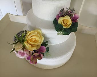 Artificial floral cake topper