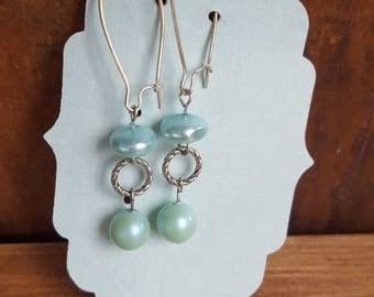 Teal pearl earrings