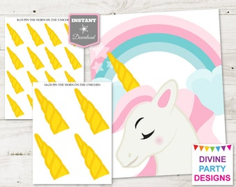 INSTANT DOWNLOAD Printable Pin the Horn on the Unicorn Game / Print as 8x10 or 16x20 / Unicorn Collection / Item #3503