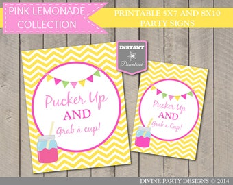 INSTANT DOWNLOAD Printable 8x10 Pucker Up and Grab a Cup Sign/ Pink Lemonade Collection / Item #422