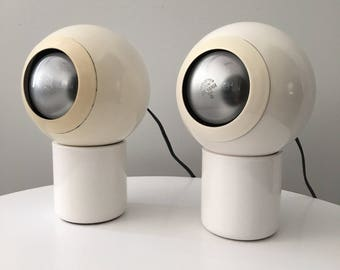 Pair Of Vintage Robert Sonneman For George Kovacs Adjustable Eyeball Orb Table  Lamps   Mid Century
