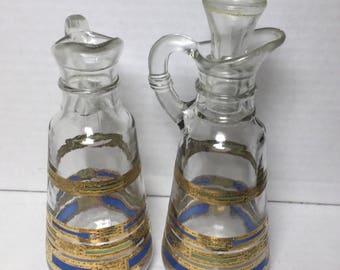 Art Deco Glass Oil Vinegar Serving Bottles Gold & Blue