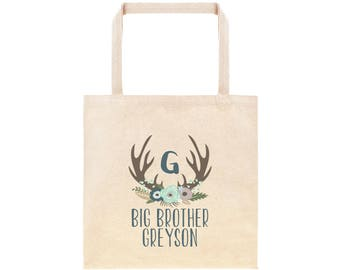 Big Brother Personalized Flower Antler Tote Bag // Custom Canvas Big Brother Gift Bag // Boho Big Bro Tote Bag