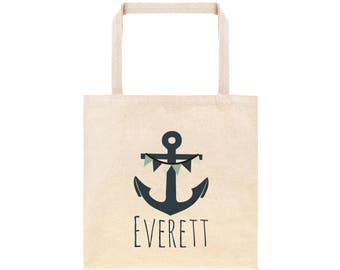 Anchor Personalized School Tote Bag // Custom Canvas Nautical Anchor Book Bag //Ocean Tote Bag Kindergarten //