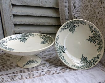 One Antique french forest green transferware pedestal cake stand. Compote dish. Medium size. Dark green transferware. Jeanne d'Arc living.