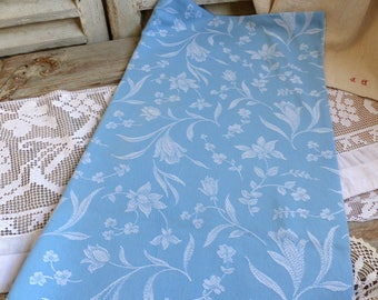 One piece of vintage french blue mattress ticking with tulip flowers. French blue mattress ticking fabric for craft projects Pillows Runners