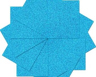 """Pre-cut Sheets Glitter Heat Transfer Vinyl - Aqua - 12 Sheets - 10""""x12"""""""