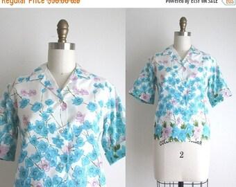 SALE 50% OFF 1960s Blouse / Vintage 1960s Blouse / Floral Print Cotton Blouse