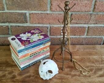 Vintage Brass Miniature Coat Rack Jewelry Organzier, Necklace and Bracelet Tree Hanger