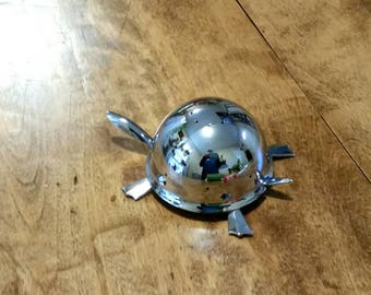 Vintage Hors D'Oeurve Pick Holder, Stainless Steel Chrome Mock Turtle by Irvinware, 60s Cocktail Party Toothpick Holder