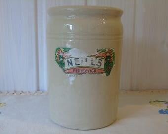 Small Vintage Cream Stoneware Storage Jar - Part Paper Label -  Crock Pot - Utensil Jar -  English Jam Pot - Stoneware Jam Jar
