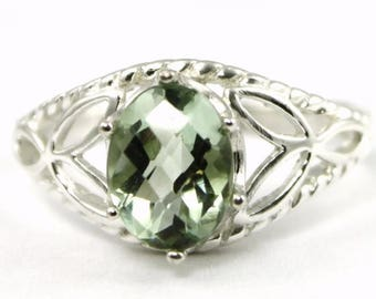 On Sale, 30% Off, Green Amethyst, 925 Sterling Silver Ring, SR137