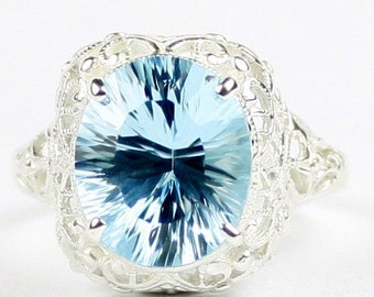 On Sale, 30% Off, Swiss Blue Topaz, 925 Sterling Silver Antique Style Filigree Ladies Ring, SR009