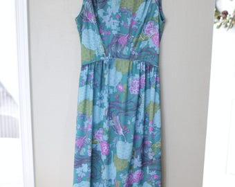 vintage turquoise peacock maxi length floral summer sun dress *