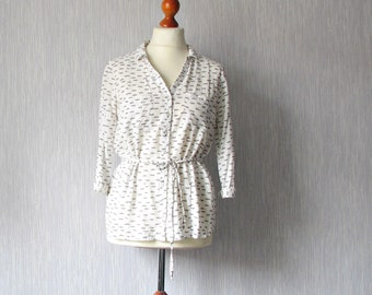Vintage 90s, White Blouse, Viscose sheer Shirt in print dragonfly, 3/4 sleeves with collar Size Large