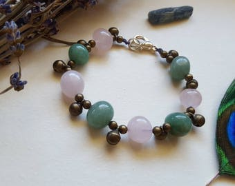 rose quartz and aventurine bracelet