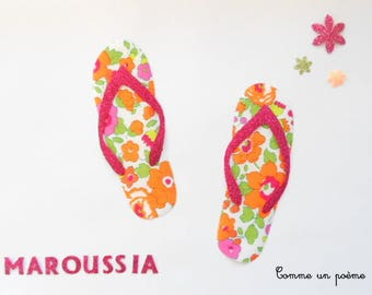 Applied fusible flip-flops liberty betsy orange and fuchsia