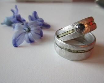 Wedding rings Rosecut Diamond Silver Gold weddingrings Handmade Set