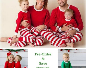 50+% off Sale for Pre-Order Monogram Christmas Pajamas, Kids & Adults, Christmas Day Pajamas, Red Stripes, Green Stripes, Red Plaid