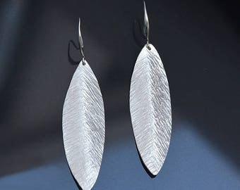 Sterling Silver Earrings, Silver Leaf Earrings, Silver Jewellery, Hammered Textured Earrings, Silver Oval Earrings, Silver Gift For Her