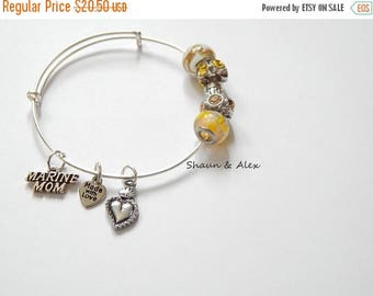 SALE Marine MOM,  Yellow Glass Beads Wire Bangle Charm Bracelet Stackable
