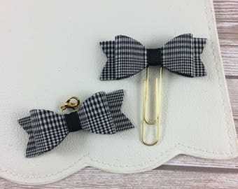 Black and White Plaid Planner Bow Charm or Clip // Planner Accessories // Bookmark
