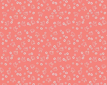 Bee Backings & Borders Wide Chick Coral Yardage - WB6423-CORAL by Lori Holt of A Bee in My Bonnet for Riley Blake Designs