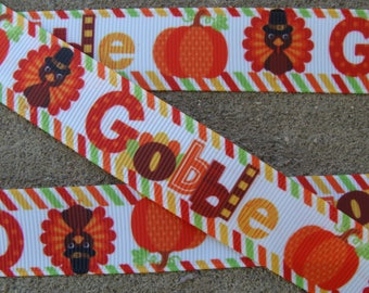 "Turkey Ribbon Thanksgiving Ribbon Happy Turkey Printed Ribbon 7/8"" Hair Bow Ribbon Gobble ribbon pumpkin ribbon turkey ribbon"