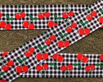 "3 yards Cherry Ribbon red and black Grosgrain Cherries Fruit 7/8"" wide cherry grosgrain printed ribbon cherry hair bow ribbon fruit ribbon"