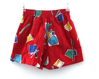 Vintage 80s shorts jams abstract pattern primary colors